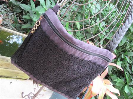 Ladies Shoulder/Crossbody or Messenger Bag - Aubergine Faux Suede & Black Lace