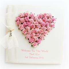 Personalised Baby card keepsake boxed roses pink newborn twins triplets