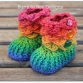 Crochet Crocodile Stitch Baby Booties size 0-6 months rainbow shades