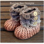 Crocodile Stitch Baby Booties in brown Size 0-6 mths, crochet baby booty.