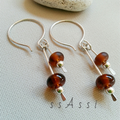 Argentium Sterling Silver and deep amber/topaz coloured glass bead earrings