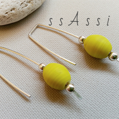 Argentium Sterling Silver and matte yellow oval glass bead earrings