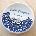 Personalised ring dish, ring bowl. Engagement gift, wedding gift. Ceramic bowl.