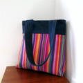 Retro Tote Bag - Stripes and Upcycled Denim