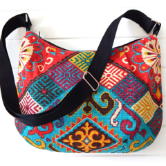 Hobo Bag with Zipper Closure & Cross Body Strap in Aztec Design Fabric