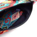 Hobo Bag with Zipper Closure & Cross Body Strap in Aztec Design Fabric