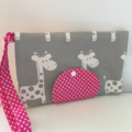 Grey Giraffe Nappy Wallet with pink  Dots