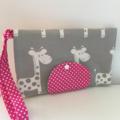 Grey Giraffe Nappy Wallet with pink  Dots