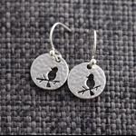 Birds ~ Hammered Silver Drop Earrings