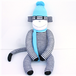 'Ollie' the Sock Monkey - black and white stripes with aqua - *READY TO POST*