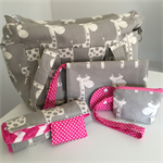 Grey Giraffe Nappy Bag Wallet and Mat. Lots of colour Choices