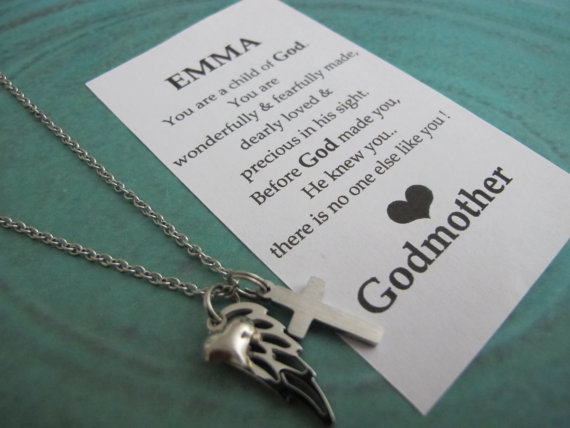 Gift For Goddaughter Birthstone Necklace Sterling By: Goddaughter Gift, Goddaughter Jewelry, Gift From Godmother