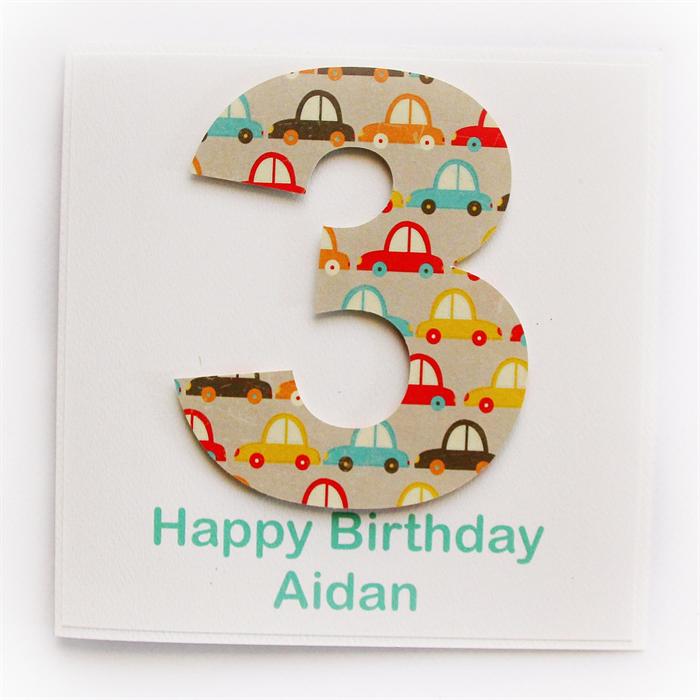Any Age Custom Birthday Card Children Kids Cars 1 2 3 4 5 6 7 8 9 10