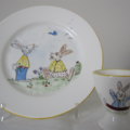 Hand painted Royal Doulton Rabbits plate and Rabbits egg cup