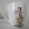 Hand painted bone china mug featuring Chooks!