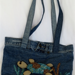 Upcycled Jeans Tote Bag with Turtle