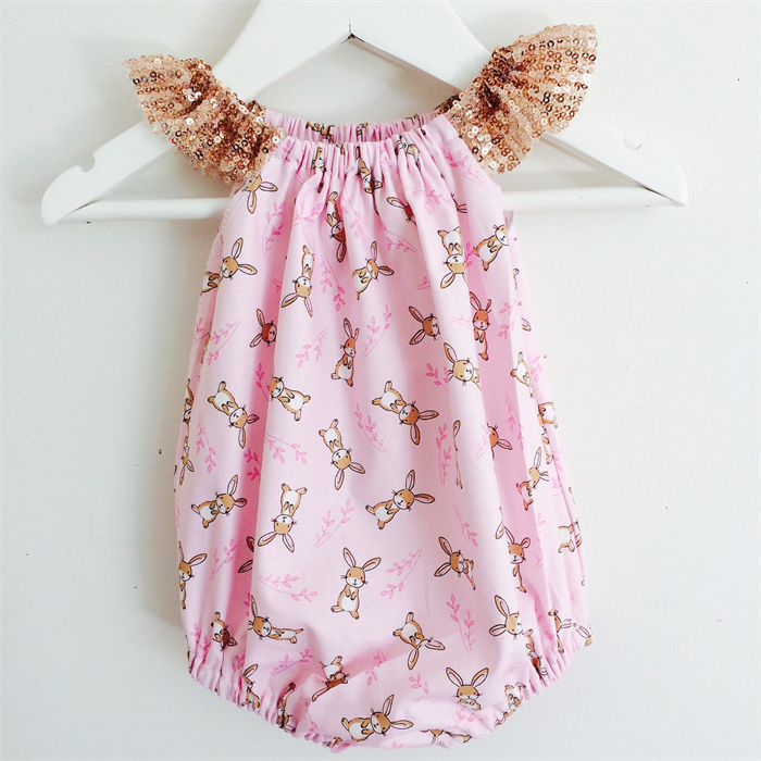Easter Bunny Sparkly Pink Handmade Romper - girl 50ad72e1863d