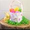 Embroidered EASTER BASKET,  Art Gallery Bunny, Pink Easter Baskets