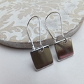 Short or Long Rhodium Square Pendant Earrings