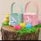 Embroidered EASTER BASKET, Fabric Basket, Pink Bunny