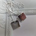 Short or Long Rhodium Square Pendant Earrings