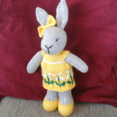 Susie Bunny Hand knitted Easter Toy Softie
