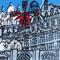 Contemporary art multi-block linoprint 'Moulin Rouge'