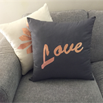Charcoal Grey Copper Foil print LOVE Cushion / Pillow