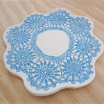 Ceramic serving platter, turquoise plate, cake stand, cheese board. Porcelain