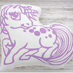 Organic hand printed cushion - Unicorn in lilac