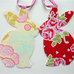 Bunny Garland, Baby Shower Bunting, pink tape, double sided fabric
