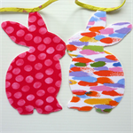 Bunny Garland, Baby Shower, House  Warming gift, double sided fabric