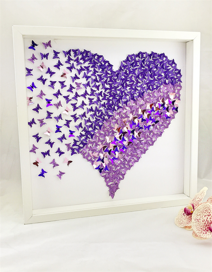 3d butterfly heart wall art heart frame paper wall art for Butterfly design on wall