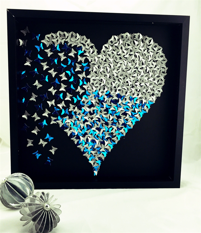 Wall Art Silver Frames : Butterfly heart frame wall art sparkly silver in d