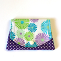 Find a Penny Purse - Purple, Green & Blue dasy Flowers & Polka Dots