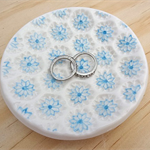 Ceramic ring dish with blue flowers. Ring holder, ring bowl. Something blue.