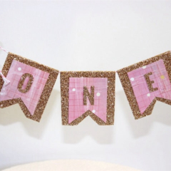 Cake Bunting/Cake Topper/Cake Banner/Flags. Girls First Birthday - 1st Birthday