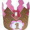 Pink Birthday Crown - 1st Birthday - Gold Glitter - Baby Birthday.
