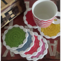 HANDMADE.... Set of 6 Crochet Coasters. 'Colourful Rainbow' READY NOW.