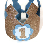 Blue Birthday Crown - 1st Birthday - Gold Glitter - Baby Birthday.