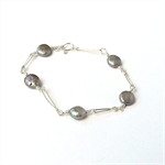 Oyster Grey Coin Pearl and Sterling Silver Bracelet