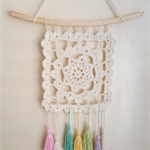 Dream catcher - square, 100% cotton in off white with tassels...free postage