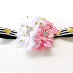Glittery Pink, White, Gold & Black Chiffon Flower Headband for Baby Girls