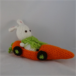 Crocheted Bunny with carrot car toy