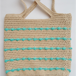 Large beige and cotton bobble crochet bag...free postage