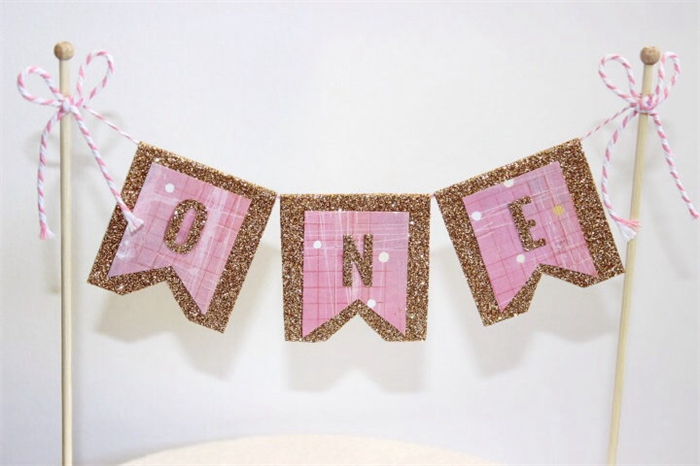Cake Bunting Topper Banner Flags Girls First Birthday