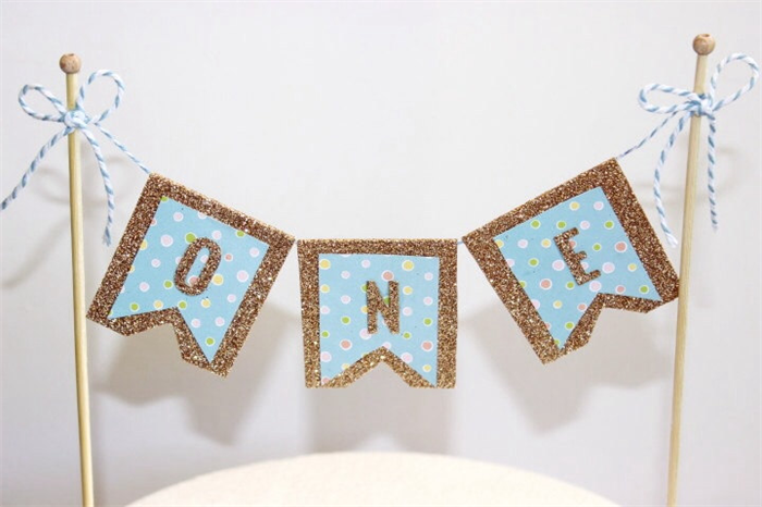 Cake Bunting Topper Banner Flags Boys First Birthday 1st