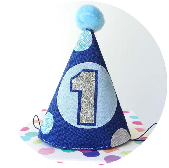 Baby Boy's Fun First Birthday Party Hat . Cake Smash Photo