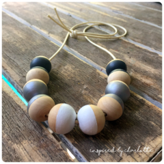 black, silver and white hand painted wooden bead necklace