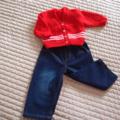 Size 6-12 mths hand knitted beanie in Red: washable, practical,